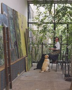 Claire Basler's studio/home (All photos from Elle Décor UK, photos by Mads… Art Studio Design, My Art Studio, Dream Studio, Painting Studio, Paris Painting, Studio Ideas, Claire Basler, Studios D'art, Music Studios
