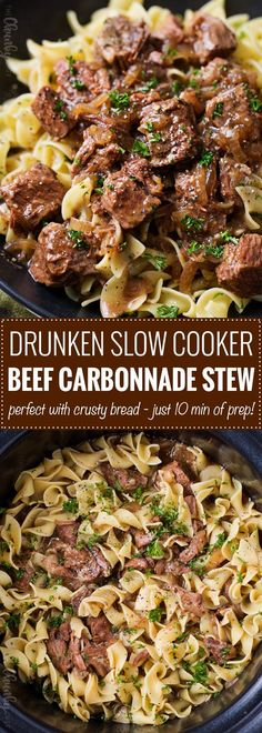 Drunken Slow Cooker Beef Stew (Beef Carbonnade) | Belgium comfort food, made easy in the slow cooker! Beef stew made with plenty of sweet onions, herbs and beer... perfect over egg noodles, mashed potatoes, or with a crusty piece of bread! | The Chunky Chef #beeffoodrecipes