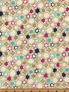 Tan Hexagons with Gold Metallic - Quilt Gate - HR3130-15 - 100% Cotton Fabric by QuiltsOnTheFly on Etsy