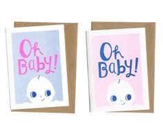 New Baby Card - 'Oh Baby!' - Unisex Blue / Pink - Risograph