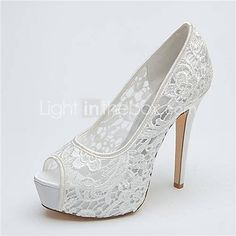 [USD $ 44.99] Women's Shoes Platform Peep Toe Stiletto Heel Lace Pumps Wedding Shoes More Colors available