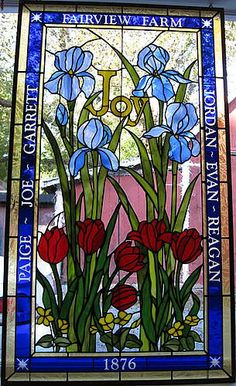 from sunflower glass studio - stained glass - iris