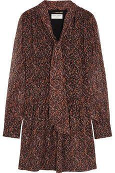 Saint Laurent Printed silk-georgette mini dress | NET-A-PORTER