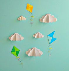 Kites and Clouds  3D Paper Wall Art/Wall by goshandgolly on Etsy, $29.00