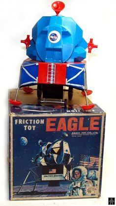 Space Capsules - EAGLE FRICTION TOY (LUNAR LANDER) - ASAHI - JAPAN - ALPHADROME ROBOT AND SPACE TOY DATABASE
