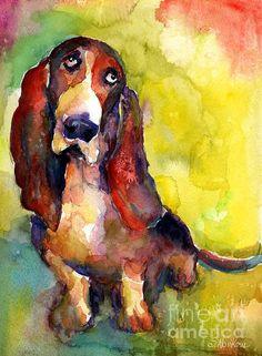painting-svetlana-novikova - basset hound