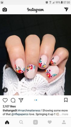 What manicure for what kind of nails? - My Nails Spring Nail Art, Nail Designs Spring, Spring Nails, Nail Art Designs, Spring Art, Nail Designs Floral, Nail Art Flowers Designs, Spring Summer, Cute Nails