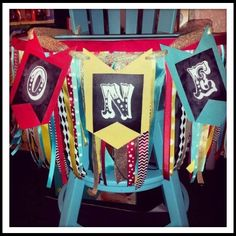 Vintage circus 1st birthday party- high chair banner, one, ribbons, chalkboard,