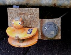 Two jolly little fellas on a parked up builder's lorry bringing googly eyed happiness to East Anglia.