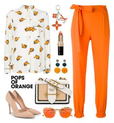 """""""Untitled #1087"""" by m-jelic ❤ liked on Polyvore featuring MSGM, Ganni, Gianvito Rossi, Prada, Bobbi Brown Cosmetics, Gentle Monster, Louis Vuitton, orangeoutfit and popsoforange"""