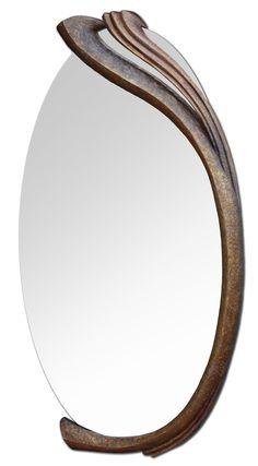 Zrcadlo LInie 2012, š: 120 x 50 cm, dřevo lipové, namořené , pozlacené, olejové barvy, vosková patina. V soukromé sbírce.
