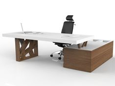 Office Table Executive office desk with shelves FLOAT Executive Office Desk, Modern Office Desk, Home Office Space, Office Workspace, Office Table Design, Office Furniture Design, Office Interior Design, Office Interiors, Modern Reception Desk