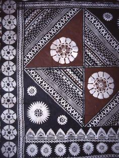 Masi (Bark Cloth) with traditional pattern. Fiji Museum, Suva, Fiji