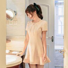 Japanese Fashion -  Short-sleeved flounced slim dress - AddOneClothing - 1
