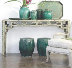 table / iron / metal / cushion / turquoise / vase / ceramics / plant / bedroom / living room / hall