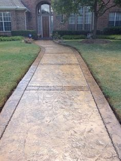 Stamped concrete design - A smart tip about interior design is consistency is essential. You need to decide on a theme in order for your design so everything meshes well together. Stained Concrete Driveway, Stamped Concrete Walkway, Concrete Patio Designs, Concrete Porch, Cement Patio, Concrete Color, Concrete Steps, Concrete Driveways, Backyard Patio Designs