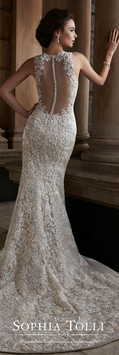 Sophia Tolli Fall 2017 Wedding Gown Collection - Style No. Y21739 Polaris - sleeveless hand-beaded lace trumpet wedding dress with illusion lace back with buttons #weddinggowns