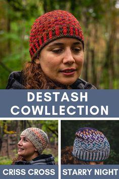 All is in the name !!! The Destash COWLlection is a collection of cowls and assorted beanie to help you go through your yarn-stash !  Tout est dans le nom ! La COLlection est ensemble de patrons de cols et bonnets assortit pour utiliser tes restants de laine ! Yarn Stash, Criss Cross, Creations, Winter Hats, Crochet Hats, Pattern, Collection, Cowls, Wool