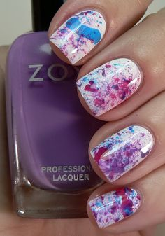 Splatter nails... considering I have very shaky hands, and my nail polish always looks messy, this would be perfect for me :)