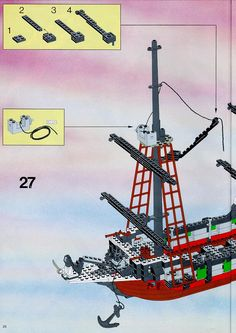Thousands of complete step-by-step printable older LEGO® instructions for free. Here you can find step by step instructions for most LEGO® sets. Lego Pirate Ship, Lego Ship, Black Mode, Lego Group, Lego Instructions, Legos, Pirates, Lego Boat, Lego