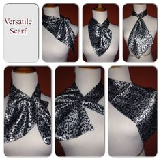 Versatile scarf Cute, sexy, flirty, however you would like to wear it. Versatile silky silver leopard print scarf shown in different ways of how you can style it. Accessories Scarves & Wraps