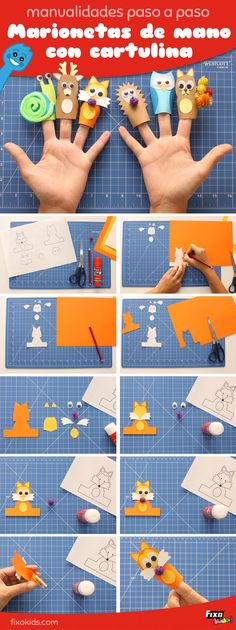 step by step tutorial to make hand puppets with cardboard - Paper Bag Preschool Crafts, Fun Crafts, Diy And Crafts, Hand Puppets, Finger Puppets, Play School Activities, Diy For Kids, Crafts For Kids, Paper Bag Crafts