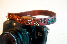 Custom Camera Leather Strap  Floral pattern  Add by MesaDreams, $40.00