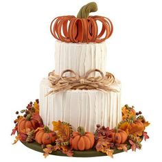 Impress your guests this fall with a towering, pumpkin-topped, two-tier cake.s great for Halloween, Thanksgiving or any fall celebration. Use Wilton Ready-To-Use Rolled Fondant to create all the realistic-looking, harvest-inspired decorations. Wilton Cakes, Fondant Cakes, Cupcake Cakes, Bolo Halloween, Halloween Cakes, Beautiful Cakes, Amazing Cakes, Super Torte, Thanksgiving Cakes