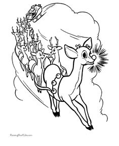 Free Printable Rudolph The Red Nose Reindeer Coloring Pictures