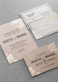 Dauphine Press- stylish wedding invitation with fantastic ink color and font combination