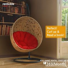 Swing, read, relax, or make it your designated workspace, Egg Chairs add a modern look and feel to your room and they're super comfy!  Book Now  Thinking of Renting. Think of Rentickle! . . #stylishswingchairs #swingchair #hangingchair #swingchairs #hangingchairs #eggchairs #stayhome #workspace #gardenfurniture #workathome #calm #home #homedesign #workfromhome #interior #interiordesign #madeinindia #relaxing #relaxation #rentfurniture #vocalforlocal #rentickle #eggswing