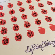 Date Covers ~ Apples for Passion Planner, Erin Condren, Happy Planner...etc by LyRainzStickrzNStuff on Etsy