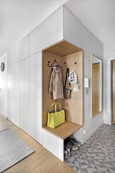 As well as three bedrooms, the upper floor also accommodates a laundry area and a corridor that leads to an outdoor terrace. Latest Cupboard Designs, Bedroom Cupboard Designs, Wardrobe Design Bedroom, Home Room Design, Home Interior Design, House Design, Interior Walls, Best Interior, Home Engineering