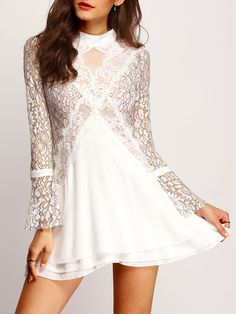 Bell Sleeve Hollow Back Lace Dress 28.00