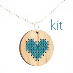 VALENTINES DAY Cross Stitch Necklace Kit, Bamboo Heart Pendant in Blue. $12.00.