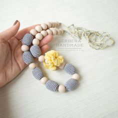 Gray Nursing necklace/ Teething necklace/ by GerberaHandmade