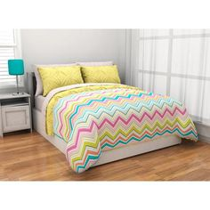 Latitude Pintuck Comforter Set Reverse to Chevron Complete Bedding Set, Yellow