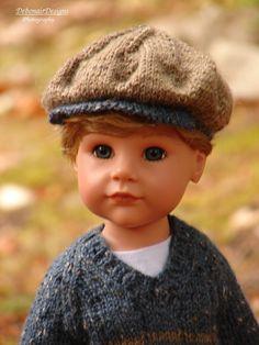 OOAK HandKnit Fall Tweed Sweater & Cap for Gotz Hannah dolls by Debonair…