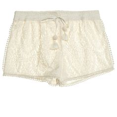 CALYPSO St. Barth Abyar Lace Short (510 PEN) ❤ liked on Polyvore featuring shorts, bottoms, ivory cc, short shorts, calypso st. barth, lacy shorts, lace shorts and pom pom shorts