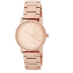 DKNY Women's Soho Bracelet Watch ($66) ❤ liked on Polyvore featuring jewelry, watches, rose gold, stainless steel jewellery, bracelet watch, watch bracelet, water resistant watches and dkny watches