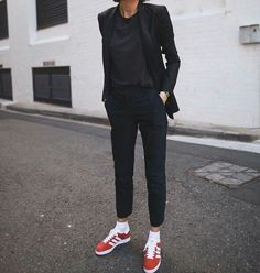 Total black , red sneakers #style_me_pretty #editastale