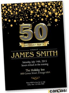 CIJ SALE BLACK Gold Birthday Invitation 30th 40th 60th 70th