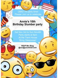 Emoji  Personalized Invitation (Each)