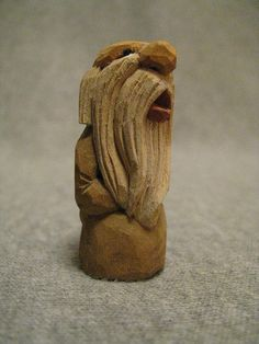 One and inches tall. Simple Wood Carving, Wood Carving Tools, Wood Carving Patterns, Wood Carvings, Whittling Projects, Whittling Wood, Wood Projects, Wooden Art, Wooden Crafts