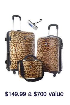 f8e7474e6d06 Heys USA 3-Pc Exotic Spinner Set With Bonus Microscale In Leopard - Beyond  the Rack