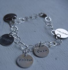 personalized Hand stamped Sterling silver charm link bracelet with sterling disc nana mother bridesmaids. $48.00, via Etsy.