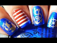 Nautical Nails Using Chez-delaney Marin 002 Nail Stamping by Nailstamp4fun - YouTube video tutorial. Used: China Glaze White on White, Frostbite (blue), and Seeing Red. Stamping colors: Color Show Bold Gold (holographic), and Konad White.