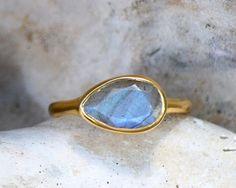 Labradorite Ring  Gemstone Ring  Stacking Ring  by DaniqueJewelry