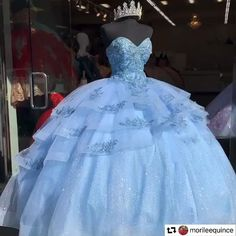 Sweet 15 Dresses, Unique Prom Dresses, Pretty Dresses, Beautiful Dresses, Disney Princess Dresses, Princess Ball Gowns, Cinderella Dresses, Light Blue Quinceanera Dresses, Cinderella Quinceanera Themes
