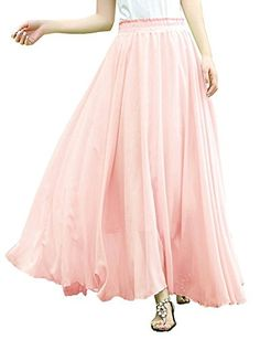 Rustsoul Women Fullankle Length Elastic Pleated Retro Maxi Chiffon Long Skirt Pink Large >>> Click image for more details.(This is an Amazon affiliate link)